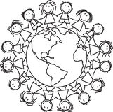 Kids world - children on globe. Kids world - group of children on globe illustration bw Stock Photography
