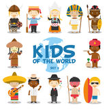 Kids of the world  illustration: Nationalities Set 3. Set of 12 characters dressed in different national costumes. (Sweden, Italy, Holland, Egypt, Southafrica/ Royalty Free Stock Image
