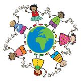 Kids, world, peace-AFRICA EURO vector illustration