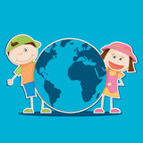 Kids And World. Vector illustration of the kids holding the world Royalty Free Stock Photos
