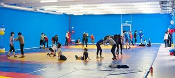 Kids wrestlers train Royalty Free Stock Photo