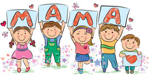 Kids write the word mama Stock Image