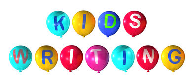 Kids writing. Child writing in colorful balloons Stock Photography