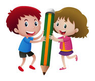 Kids writing with big pencil Royalty Free Stock Image