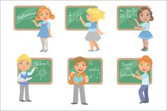 Kids Writing On Blackboard Set. Of Simple Design Illustrations In Cute Fun Cartoon Style Isolated On White Background vector illustration