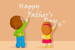Kids writting Father's Day message Stock Photo