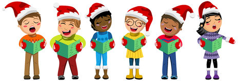 Kids xmas singing Christmas carol. Multicultural kids wearing xmas hat and singing Royalty Free Stock Photo