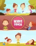 Kids Yoga Horizontal Banners Royalty Free Stock Photos