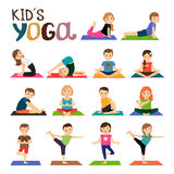 Kids yoga icons set Stock Images