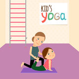 Kids Yoga with Instructor. Cartoon vector illustration Stock Photos