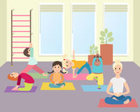 Kids yoga with Instructor in gym class. Sport lesson for children Vector illustration. Illustration of Kids Learning Yoga Stock Photos