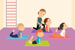 Kids yoga with Instructor Stock Photography