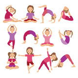 Kids Yoga Poses Vector Illustration. Child doing exercises. Posture for Kid. Healthy Children Lifestyle. Babies gymnastics. Sports Royalty Free Stock Photography