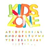 Kids zone alphabet, candy style, colorful vector font. Kids party, childrens birthday alphabet, holiday decoration. Vector colorful letters stock illustration