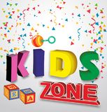 Kids zone baner with children toys vector illustration