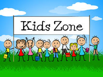 Kids Zone Banner Indicates Playing Playtime And Youngster. Kids Zone Banner Meaning Youngster Child And Joyful Royalty Free Stock Images