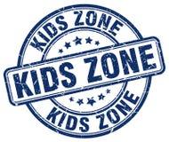 Kids zone blue grunge round vintage stamp. Kids zone blue grunge round vintage rubber stamp Stock Images
