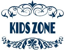 KIDS ZONE blue text frames. Illustration concept image Stock Photos