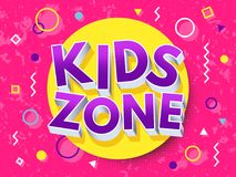 Kids zone cartoon inscription. Children playground vector concept. Game area and playroom banner for child, illustration Stock Images