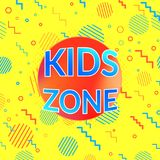 Kids zone and children playroom game area bright yellow banner Stock Photography