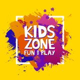 Kids zone colorful banner. Cartoon letters and splashes in Grunge abstract paint brush colorful background. Vector illustration.  Stock Photo