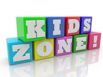 Kids zone concept on colorful cubes.3d illustration. In backgrounds Royalty Free Stock Photo