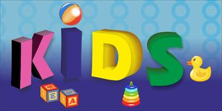 Kids zone design concept with children toys royalty free illustration