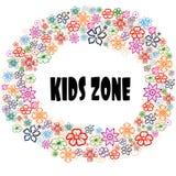 KIDS ZONE in floral frame. vector illustration