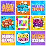 Kids zone. Kinder playroom banners for design cartoon text. Childrens playing park, backgrounds.