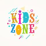 Kids zone logo. Emblem for children`s play area. Kids zone logo. Vector emblem for children`s play area. Multicolored type design with abstract shapes Stock Images