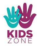 Kid zone playground or children education classroom vector letters hands smile icon. Kids zone logo template of child palm hands smiling face smiles and letters royalty free illustration