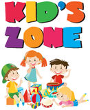 Kids zone poster with kids and toys Stock Photography