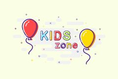 Kids zone sign in mbe design style. Vector balloons with Kids Zone words on sparkling background. Stock Images