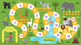 Kids zoo animals board game template. Vector flat style illustration of kids zoo animals board game template. For print vector illustration