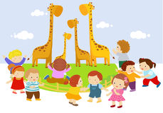 Kids in the zoo. Illustration of kids in the zoo Stock Image