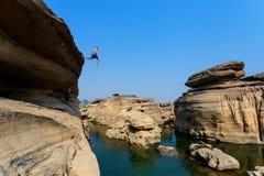 KidsSwimming river Hat Chom Dao ,Grand Canyon ,UBON RATCHATHANI,THAILAND. Royalty Free Stock Photos