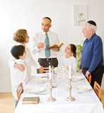 Kidush. Friday evening Jewish family celebration Royalty Free Stock Image