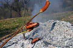 Kiełbasiani skewers ogrzewają i przygotowywają piec na grillu na dodatku specjalnego wolnym ogieniu przez długi czas jeść jako ro fotografia royalty free