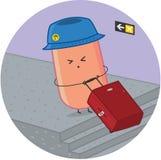 Kiełbasiany podróżnik przy lotniskiem z bagażem Fotografia Royalty Free