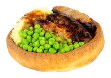 Kiełbasy I brei posiłek W Yorkshire puddingu Zdjęcia Royalty Free