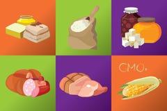 Kiełbasy, uwędzeni mięsa, prości węglowodany, oporni sadło, G Zdjęcia Stock
