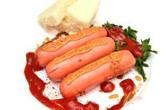 Kiełbasiany musztarda ketchup Fotografia Royalty Free