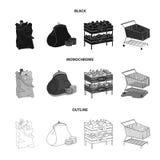 Kiełbasy, owoc, fura Supermarket ustalone inkasowe ikony w czarnym, monochromatyczny, konturu symbolu stylowy wektorowy zapas Obrazy Royalty Free