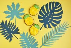 Kiefern-Apple-Plätzchen mit tropischer Blatt-Naturkost-Art Stockfotos