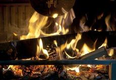 Kiefernkegel, die im Feuerplatz brennen Stockbild