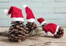 Kiefernkegel mit Weihnachtshut Lizenzfreie Stockfotos