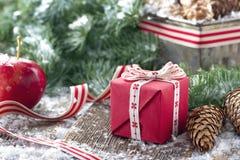 Kiefernkegel, Weihnachtsgeschenk und gezierte Baumaste Stockbilder