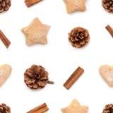 Kiefernkegel, Zimt, Plätzchenweihnachtssammlungsmuster Stockfotos