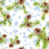 Kiefernweihnachtsbaumaste Nahtloses Muster für Weihnachtsmodedesign watercolor lizenzfreie abbildung