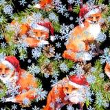 KiefernWeihnachtsbaumzweige, Fuchstiere in den roten Feiertagshüten Nahtloser Hintergrund für Weihnachten watercolor lizenzfreie abbildung